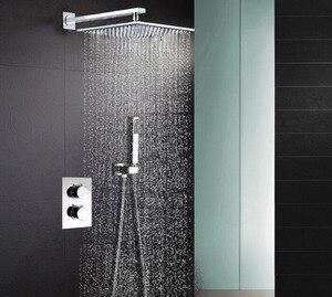 """Image 1 - 304 paslanmaz çelik kare 8 """"veya 10"""" veya 12 """"veya 16"""" yağmur biçimli duş termostatik duş bataryası vana duş seti SS001"""