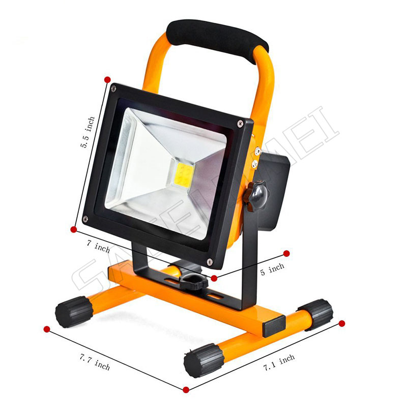 1pcs 20w waterproof outdoor led flood lighting rechargeable Led emergency lamp Portable Spotlight battery powered led spot lamp
