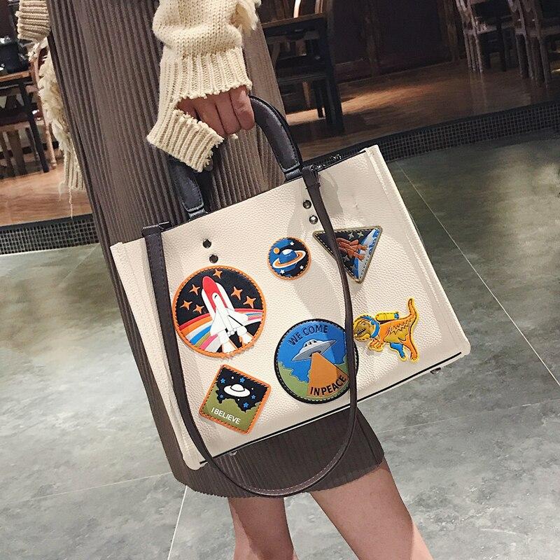 Women Rocket Space Tote Bag Pu Leather Handbag 2018 Autumn And Winter Black Blue Badge Lady Hand Bag Casual Single Shoulder Bag 2