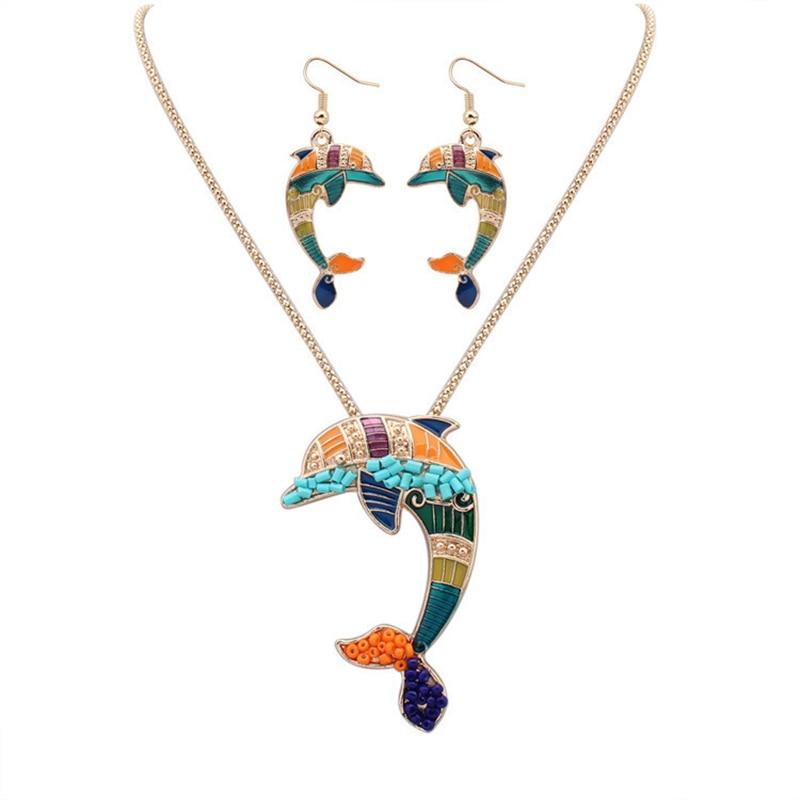 c5d1e145f545 Moda tendencia Juegos de joyería collar de la calidad de Hight Sets mujeres  joyería oro plata Cuentas Dolphin partido diseño único regalo
