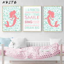 Baby Girl Nursery Wall Art Canvas Print Mermaid Cartoon Poster Quotes Minimalist Nordic Kids Decoration Picture Bedroom Decor