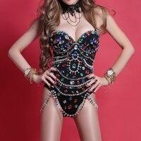 Ds костюмы ночной клуб бар Dj певица одежда для выступлений бриллианты цельное платье со стразами Beyonce сценический костюм Rave наряд