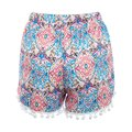 Boho Women Shorts Printed Hem Elastic Waist Sexy Shorts Casual Beach Femme Summer Style