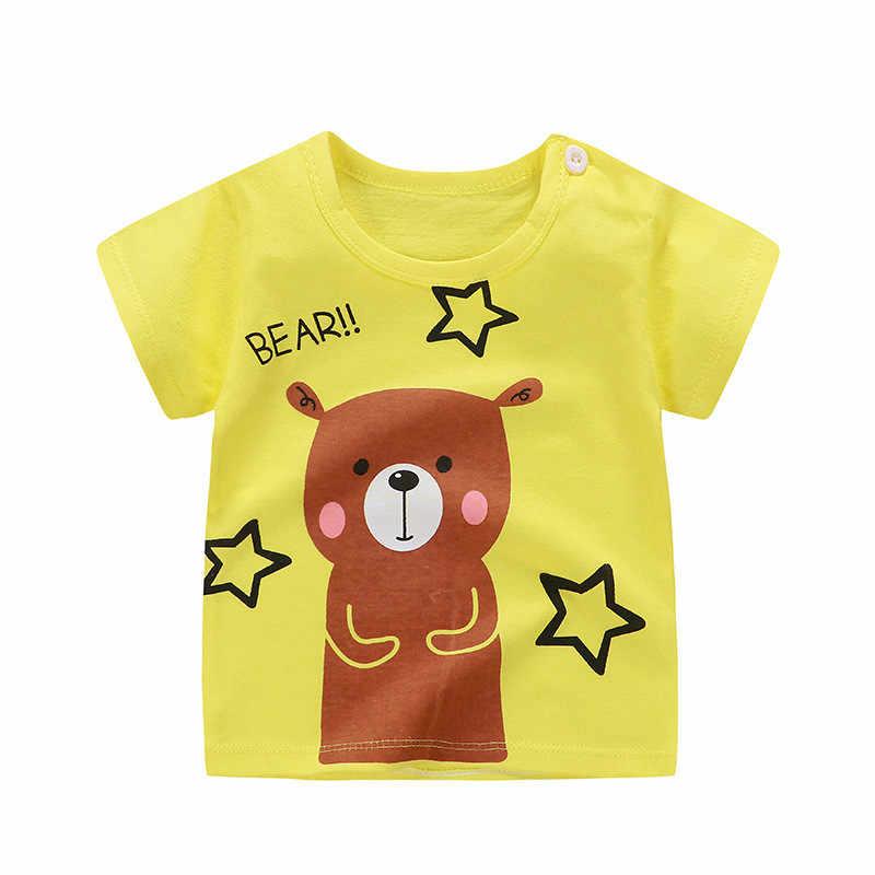 2019 летняя футболка с короткими рукавами детские футболки из чистого хлопка с героями мультфильмов летняя футболка для маленьких девочек и мальчиков футболка с круглым вырезом