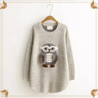 2018 Autumn Winter Cashmere Owl Print Sweater Female Pullover High Collar Turtleneck Sweater Women Solid Color Lady Sweater