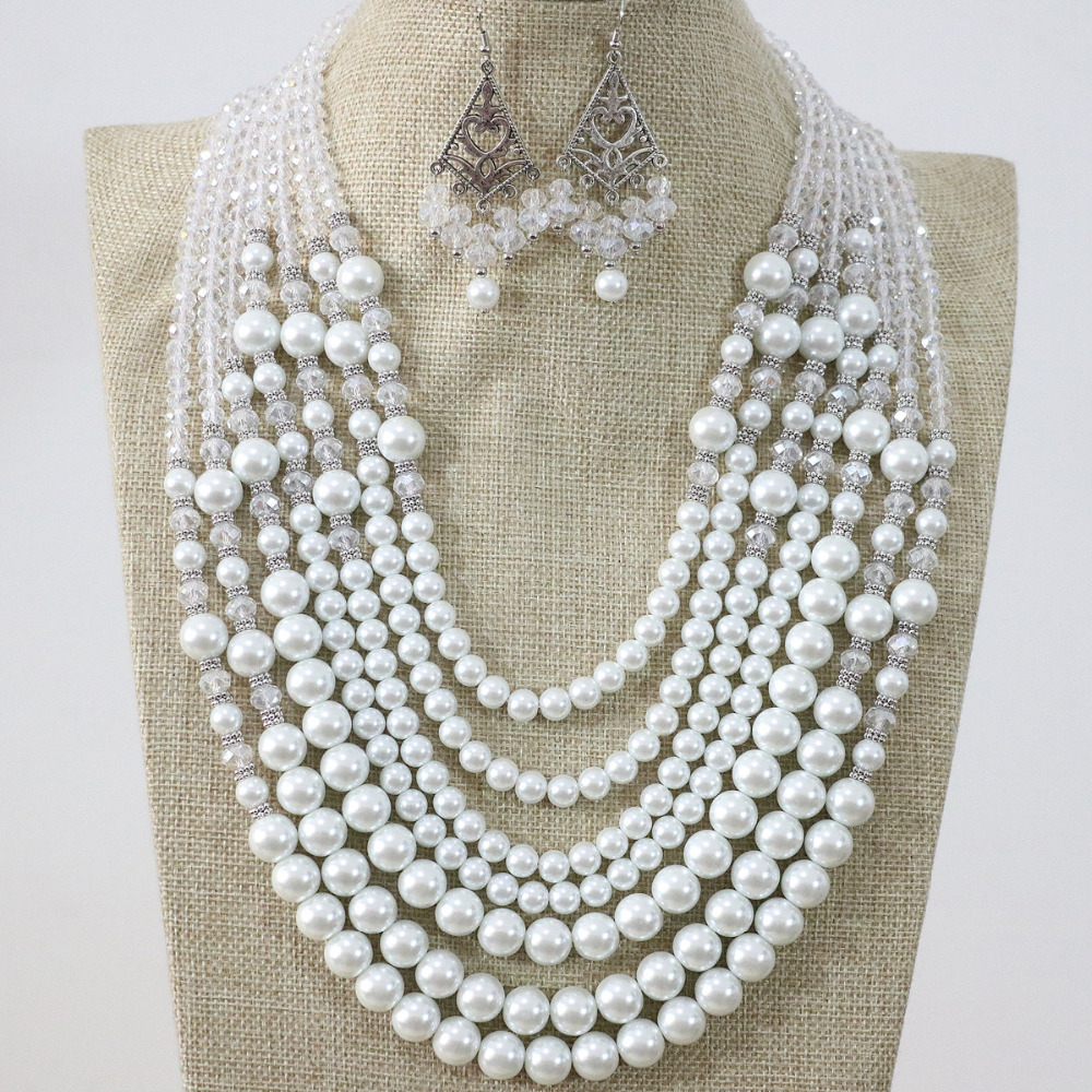 Newly 7 rows necklace earrings white round shell simulated-pearl rhinestone crystal abacus Anniversary elegant jewelry B1296
