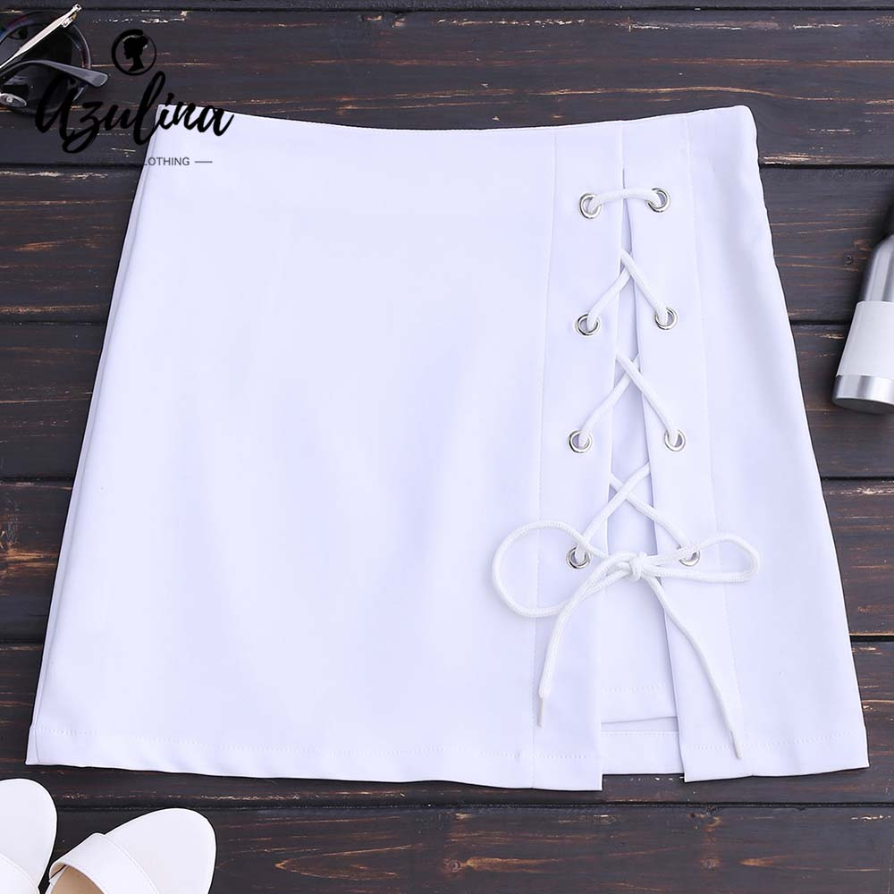 AZULINA Lace Up High Waisted Bodycon Skirt Women Skirts 2018 Summer White Black Mini Skirt Causal Girls Clothes Pencil Skirts