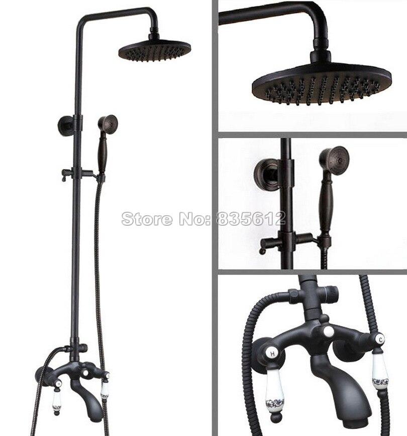 8 inch Round Shower Head & Black Oil Rubbed Bronze Wall Mounted Bathroom Rain Shower Faucet Set Bath Tub Mixer Tap Whg135