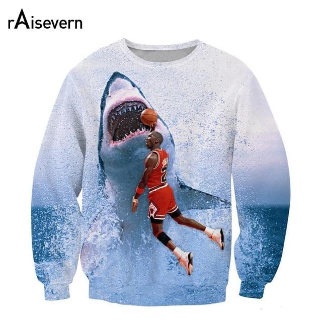 Raisevern Funny 3D Sweatshirt Men Womens Casual Hoodie Jordan&shark Print Fashion Streetwear Outerwear Clothes