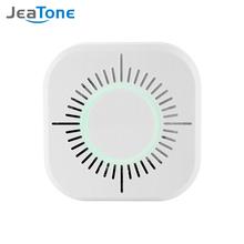 JeaTone bezprzewodowa czujka dymu 433 MHz czujnik przeciwpożarowy niezależny 360 stopni kryty bezpieczeństwo w domu ogród bezpieczeństwo czujnik dymu tanie tanio C50W plastic 100*32mm white Item