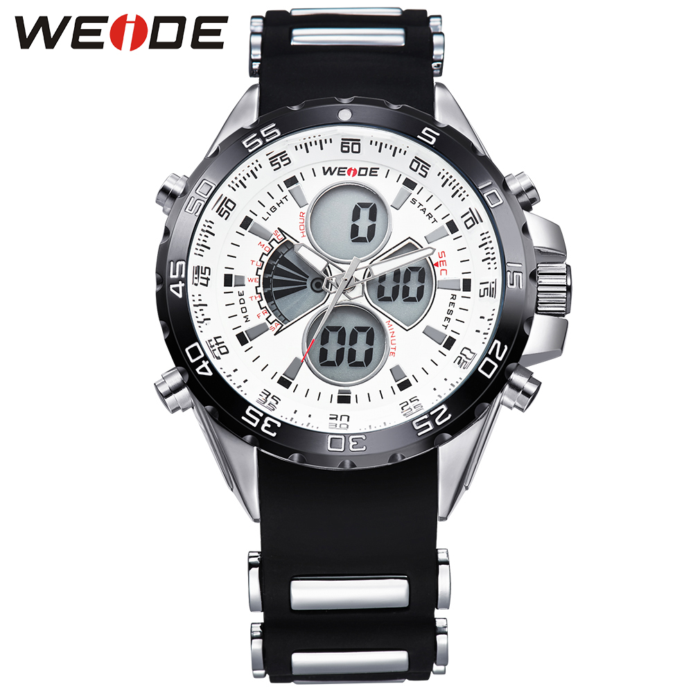 WEIDE Sport Men Watch Top Brand Black PU Band Quartz Watches Man Clock Time Fashion Army Military Wristwatches Erkek Kol Saati megir fashion men watch top brand luxury sport quartz wristwatches leather strap army military watches men clock erkek kol saati