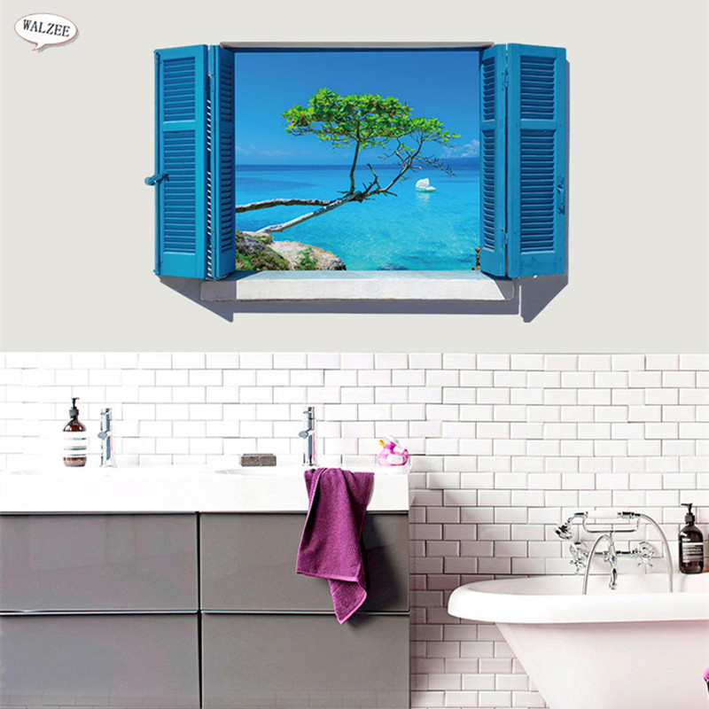 Aegean Sea Europe Scenery Blue 3D Fake Window View Wall Sticker Furniture  Restaurant Bedroom Bathroom Home Decor Decals Murals In Wall Stickers From  Home ...