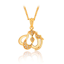 Allah Pendants & Necklaces Muslim Jewelry For Women or Men Fashion 18K Real Gold Plated Rhinestone Choker Pendant Necklaces
