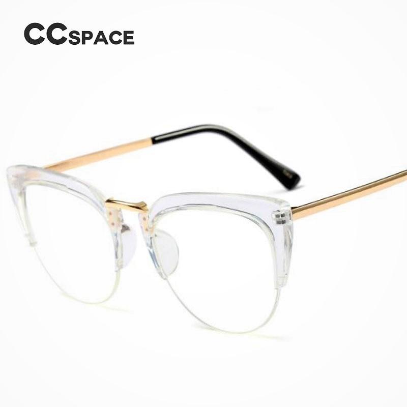 d96373f401 CCSPACE Reading Cat Eye Ladies Glasses Frames Men Women Half Frame Brand  Designer Optical EyeGlasses Computer Eyewear 45144