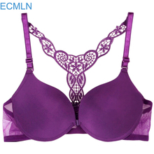 ECMLN Sexy Front Closure Racerback Lace Push Up Seamless Bra