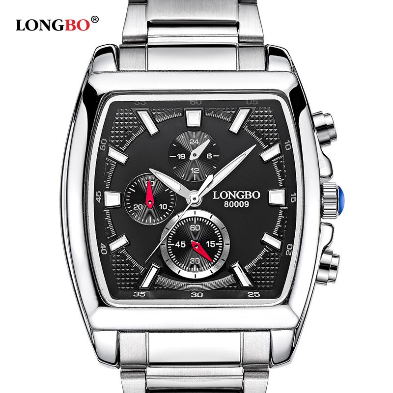 Prix pour Longbo nouvelle mode montre hommes en acier inoxydable classique rectangle cadran quartz affaires montre étanche horloge relogio masculino