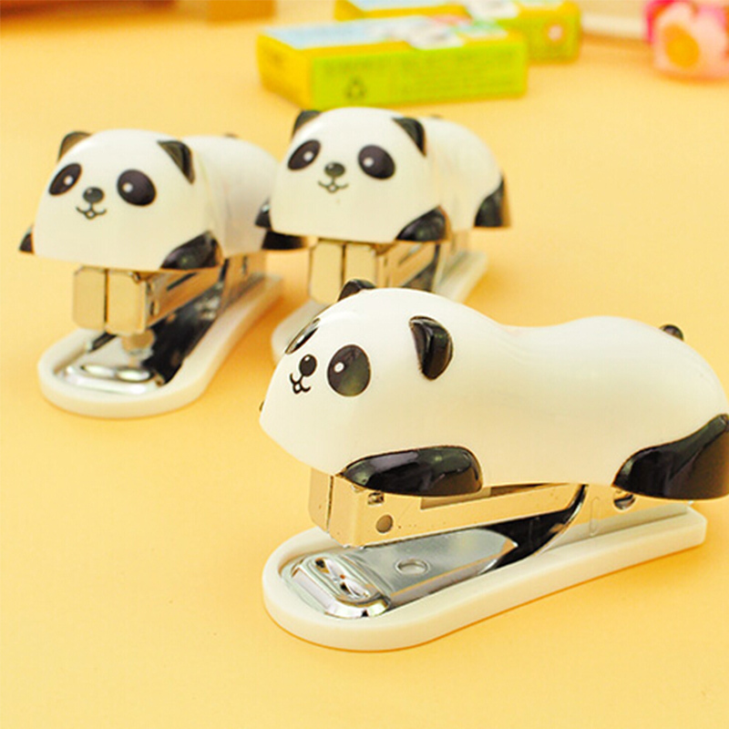 1 Pcs Mini Panda Stapler Set Cartoon Office School Supplies Staionery Paper Clip Binding Binder Book Sewer(China)
