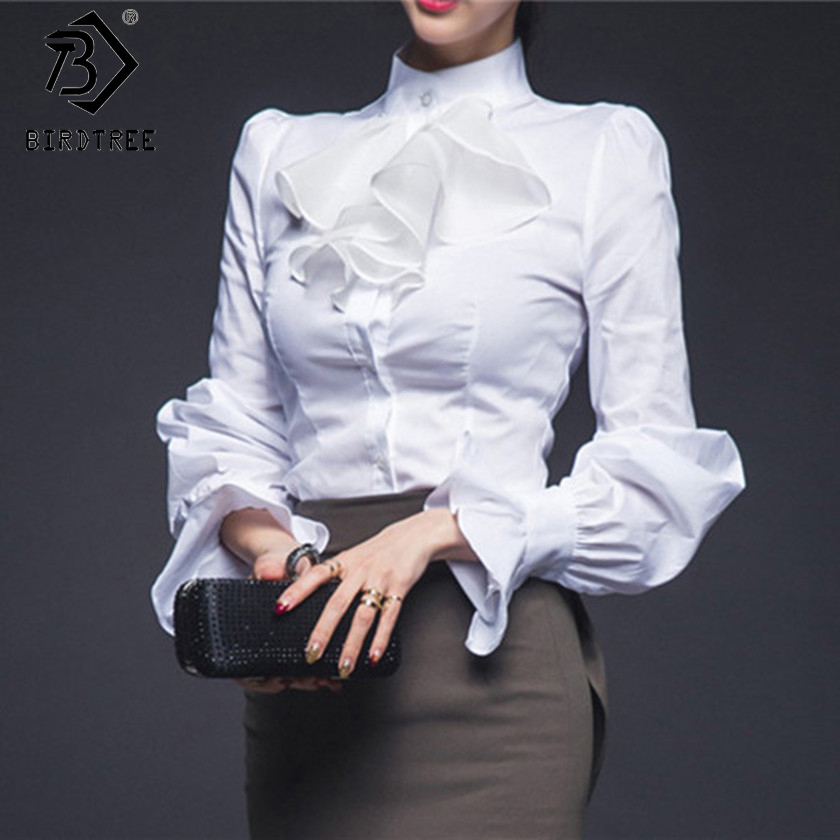 Womens Vintage Lantern Sleeve Shirt Tops 2018 Spring Fashion Female Cotton OL Bl
