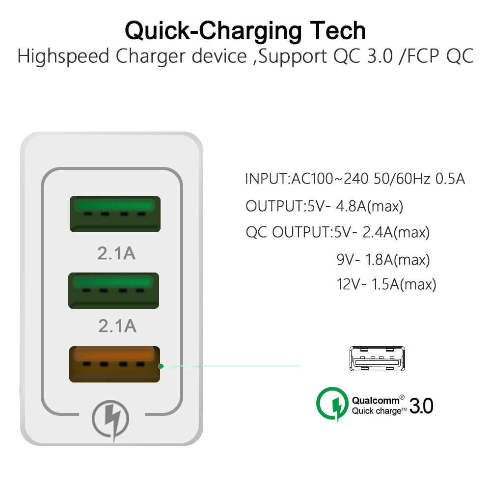 18 W USB Charger Pengisian Cepat 3.0 untuk iPhone X 8 7 Ipad Cepat Dinding Charger untuk Samsung S9 Xiao mi Mi 8 Huawei Ponsel Charger