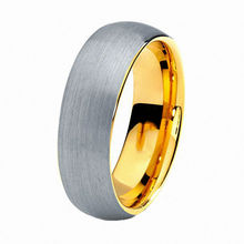 Unique Engagement Rings 8mm Tungsten Carbide Ring IP Gold Plating and Silver Brushed Polish Finished Women's Jewelry
