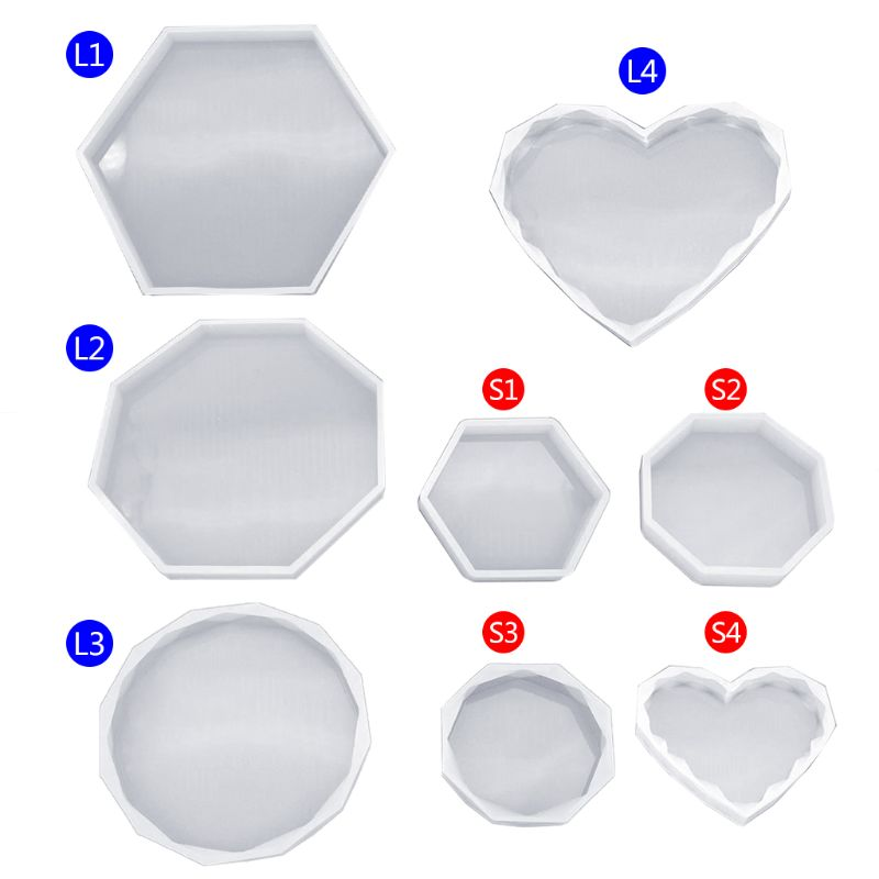 3D Smooth Silicone Mold Mirror Geometric Shape Hexagon Crafts DIY Jewelry Making Cake Fondant Epoxy Resin Molds Chocolate Tools