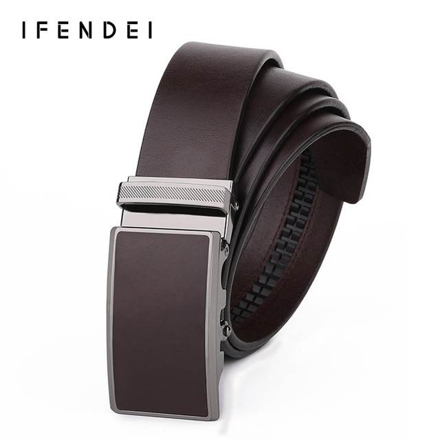 IFENDEI Designer Belt Men High Quality Luxury 100% Genuine Leather First Layer Male Belt Business Automatic Buckle Leather Belts