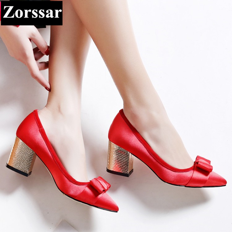 Bowknot Womens shoes high heels shoes pumps women Work shoes 2017 NEW Fashion silk Pointed Toe shoes woman High heel plus size 2017 new summer suede women shoes pointed toe high heels sandals woman work shoes fashion flowers womens heels pumps