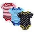3 PÇS/LOTE Recém-nascidos Roupa Do Bebê Da Menina do Menino de Alta Qualidade Bonito 100% Algodão de Manga Curta Macacão de Bebê Roupas de bebe Infantil trajes