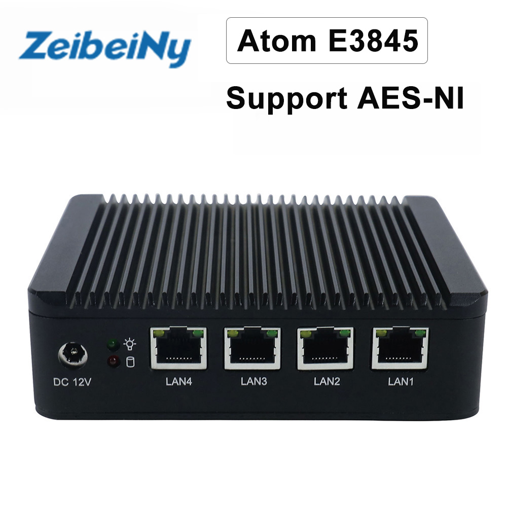ATOM E3845 VPN server Mini pc quad core fanless pfsense firewall with 4 Lan port router support AES NI