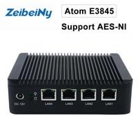 ATOM E3845 VPN server Mini pc quad core fanless pfsense firewall with 4 Lan port router support AES-NI