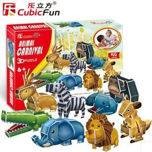 Freeshipping!  NEW Product ANIMAL CARNIVAL Cubic Fun 3D Jigsaw Puzzle 3D paper model,DIY puzzle, Educational toys P611h