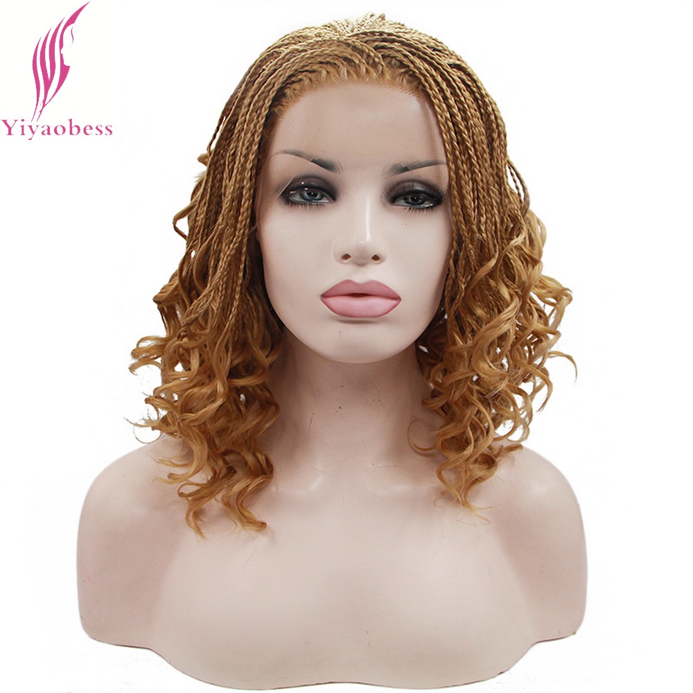 Yiyaobess 16inch Micro Lace Front Braid Wig Short Blonde Black Wigs For Women Heat Resistant Synthetic Hair