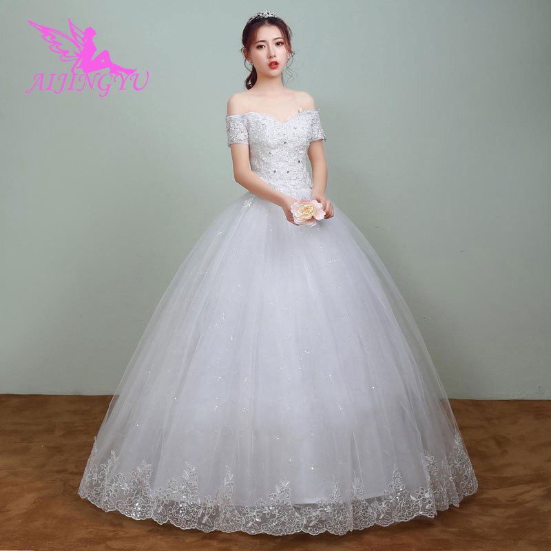 AIJINGYU 2018 Princess Free Shipping New Hot Selling Cheap Ball Gown Lace Up Back Formal Bride Dresses Wedding Dress WK795