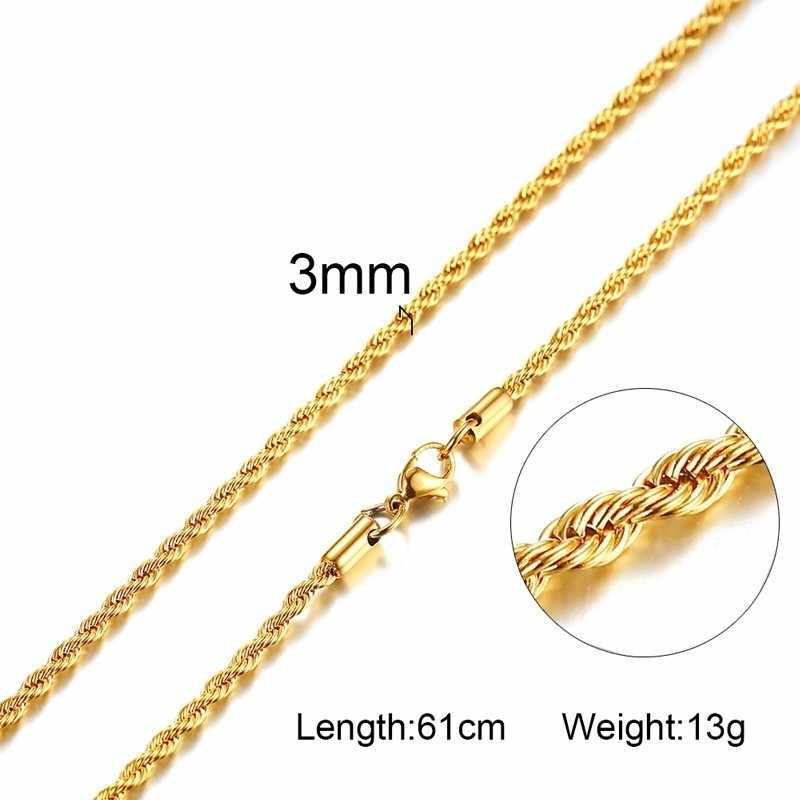 Cadenas de cuerda de acero inoxidable 316L collar de hombre Color plateado dorado No se decolora alérgico 20 pulgadas a 24 pulgadas
