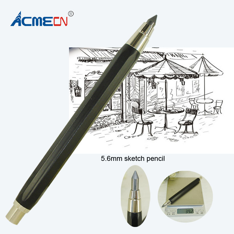 ACME New & Hot 5.6mm Mechanical Pencil 39g Metal Aluminium Heavy Pencil School Push Retractable Sketch Drawing Stationery Pencil