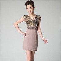 Mainland Upscale Leopard Print Dress Short Sleeve Beading Pencil Dresses Plus Size 3XL Ladies Office Dress