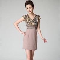 本土高級ヒョウプリントドレス半袖ビーズ鉛筆のドレスプラスサイズ3xlレディースオフィスドレスヴィンテージサマードレス
