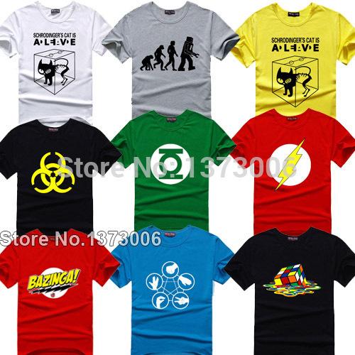 The Big Bang Theory T-shirt Sheldon Cooper super hero green lantern the flash cosplay t shirts men women geek tee TBBT tshirt