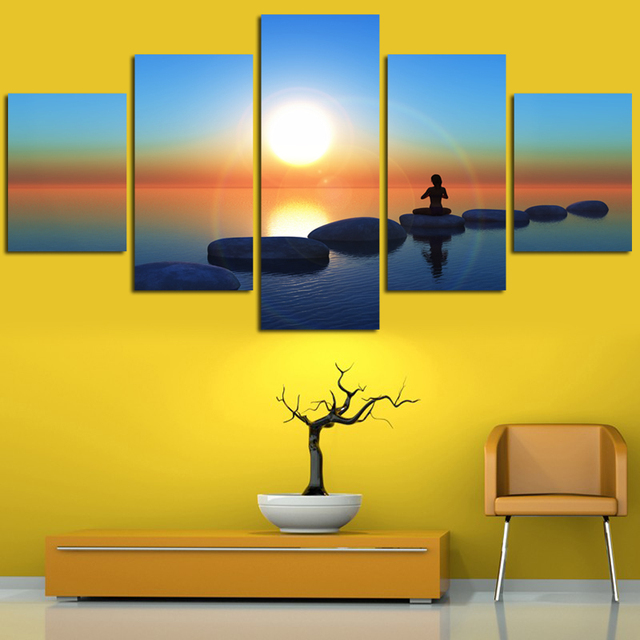Frameless Sea Landscape Oil Effect Painting Sunset Europe Abstract ...