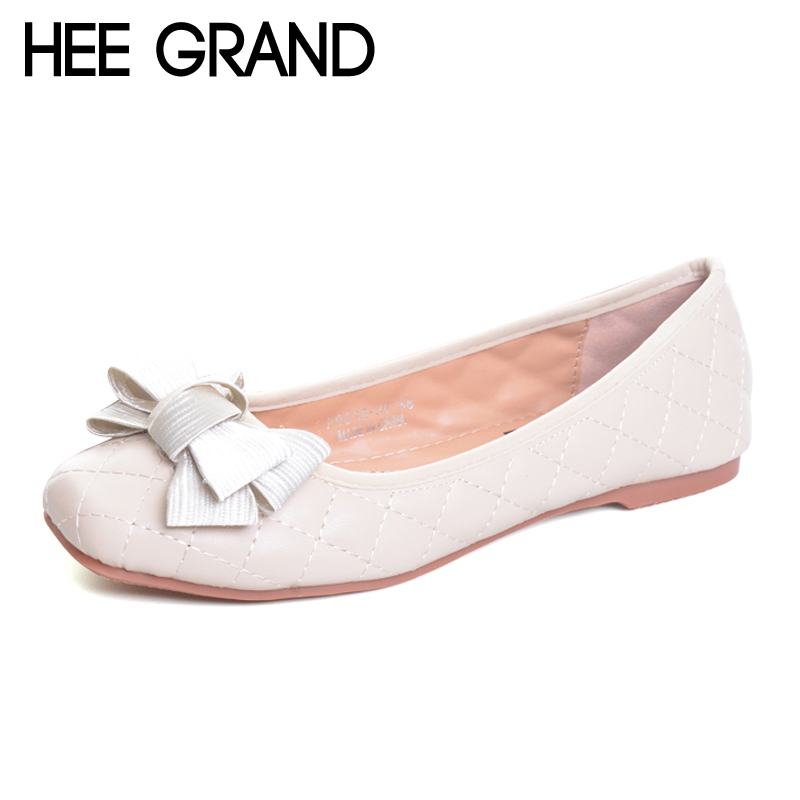 HEE GRAND Flowers Creepers Bowtie Flats Shoes Woman Square Toe Loafers Comfort Slip On Casual Women Shoes Size 35-41 XWD6022 hee grand 2017 platform loafers slip on ballet flats pinted toe shoes woman comfortable creepers casual women flat shoes xwd4879