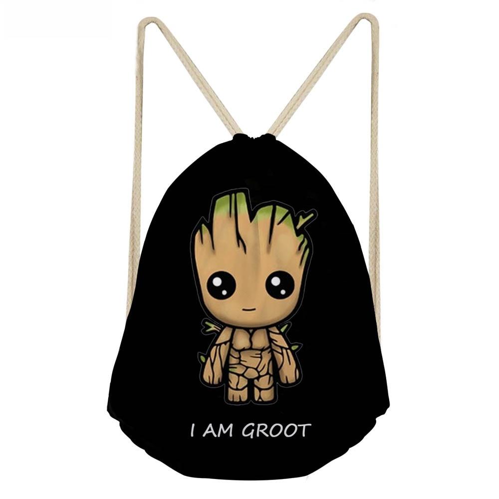 ThiKin Black Cartoon I am Groot Drawstring Bag for Boys Cool School Kids Travel Backpack Small