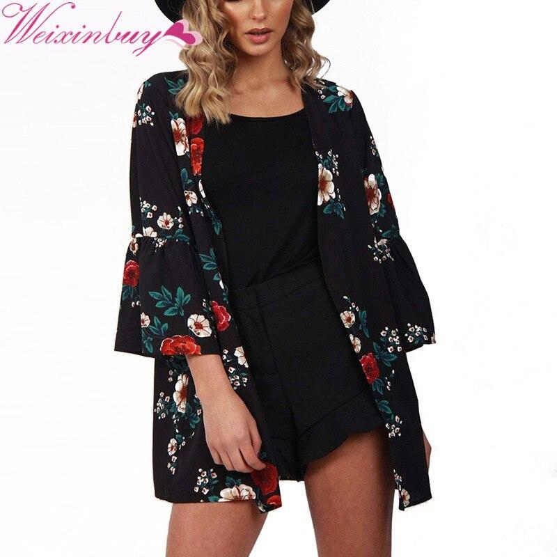 Women Jacket 2018 Spring Autumn Women Flower Print Basic Jacket Long Sleeve Pockets Slim Short Cardigan Coat Casual Outwear F1