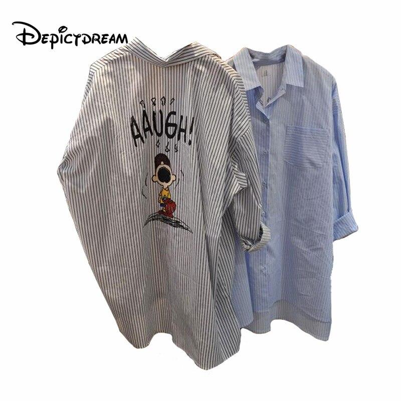 Brand original design stripe Cartoon printing letter long sleeve blouse women tops 2018 feminine blouse chemise femme blusas