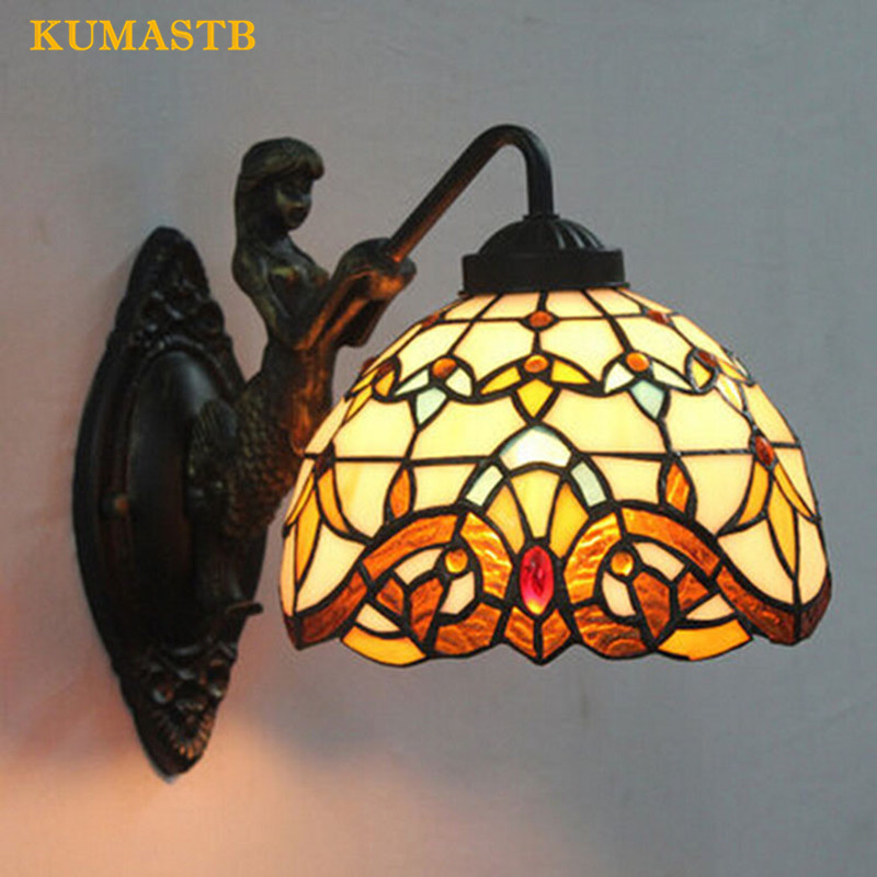 European Modern Simple Baroque Wall Lamps Creative Bedroom Bedside Wall Light Vintage Stained Glass Wall Sconce for Balcony