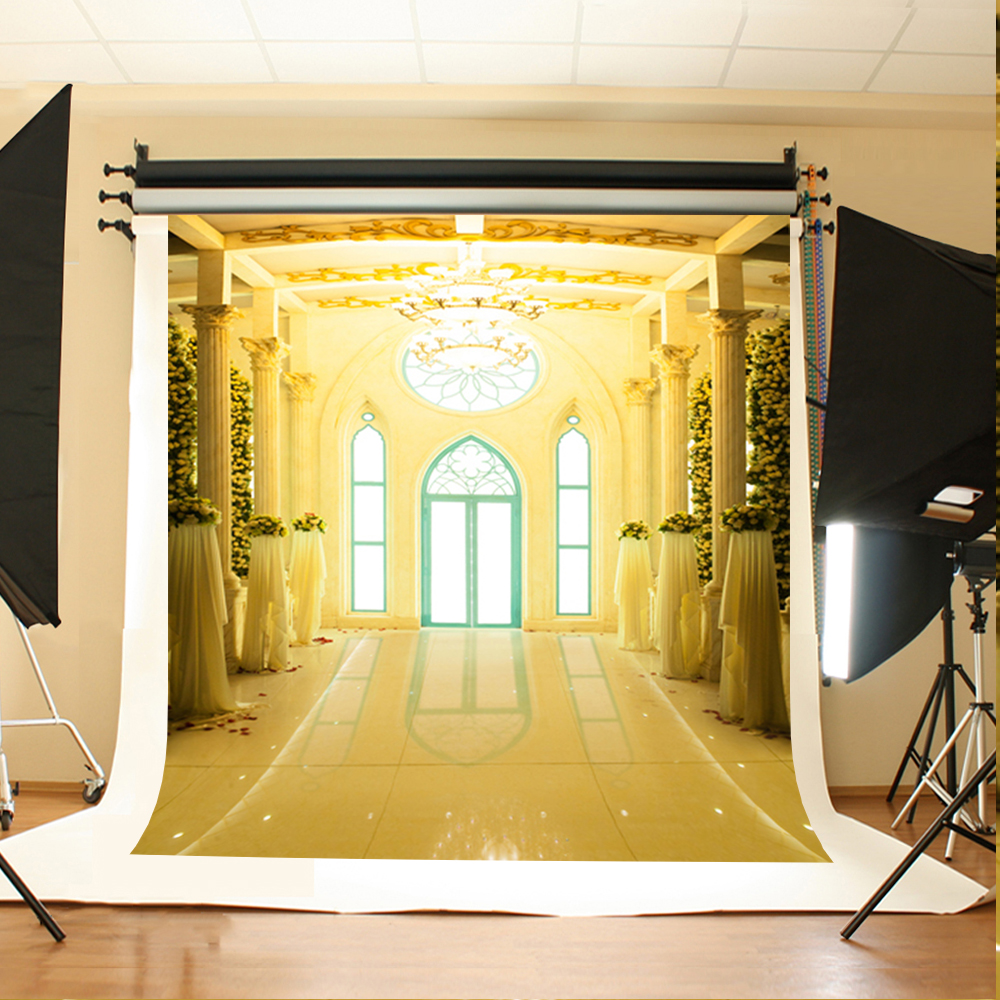 Wedding Photography Background White Flowers Petals Digital Printing Backdrops Sun Window Chandelier Backgrounds for Photography