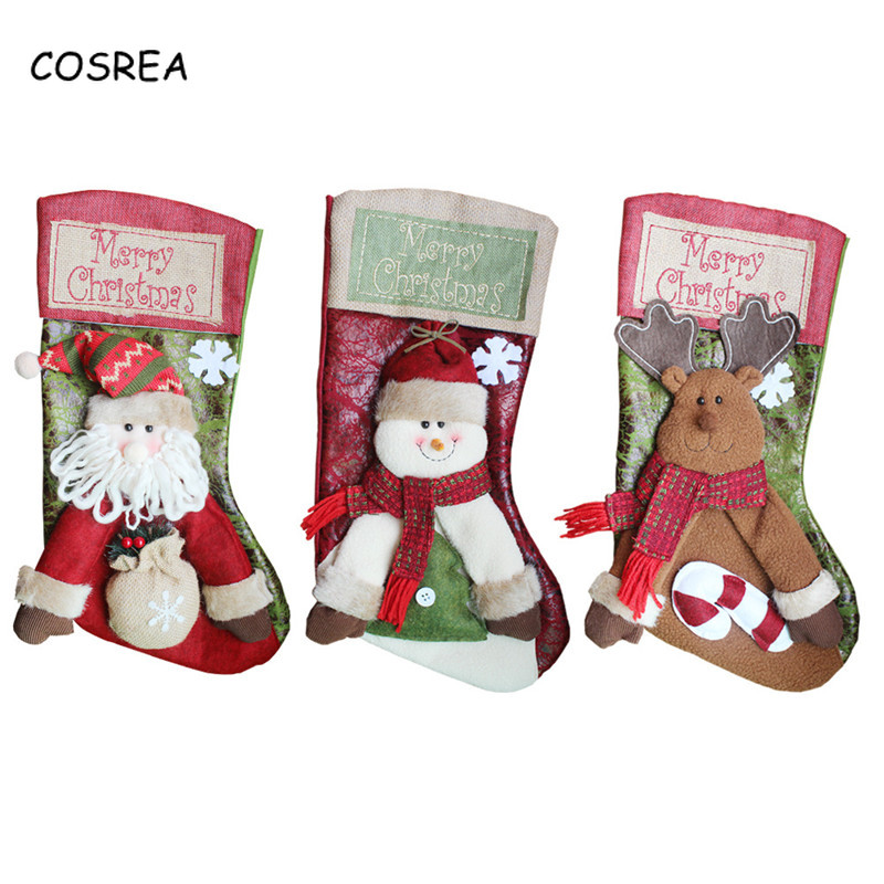 Christmas Tree Decorations Stockings Socks New Year Mermaid Santa Claus Candy Gift Bag Decor Festival Party Cosplay Costumes