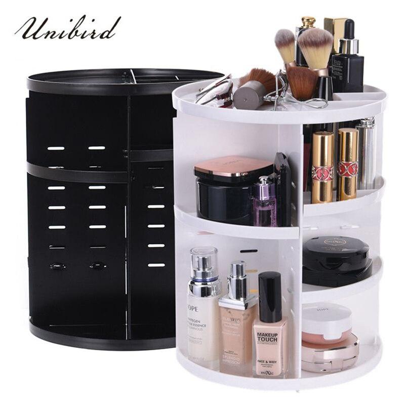 Unibird boîte de rangement cosmétique en plastique 360 degrés rotatif maquillage organisateur brosses étui de rouge à lèvres en plastique bijoux conteneur