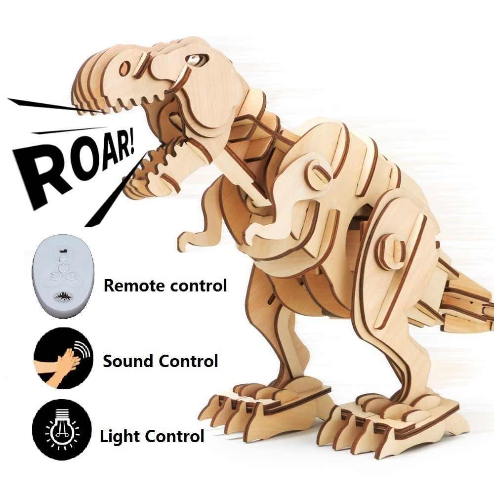 Robud R/C + Sound Control + Controle de Luz Dinossauro Modelo 3D Puzzle De Madeira Auto-Movimento Mecânico Grande brinquedos de dinossauros para Crianças