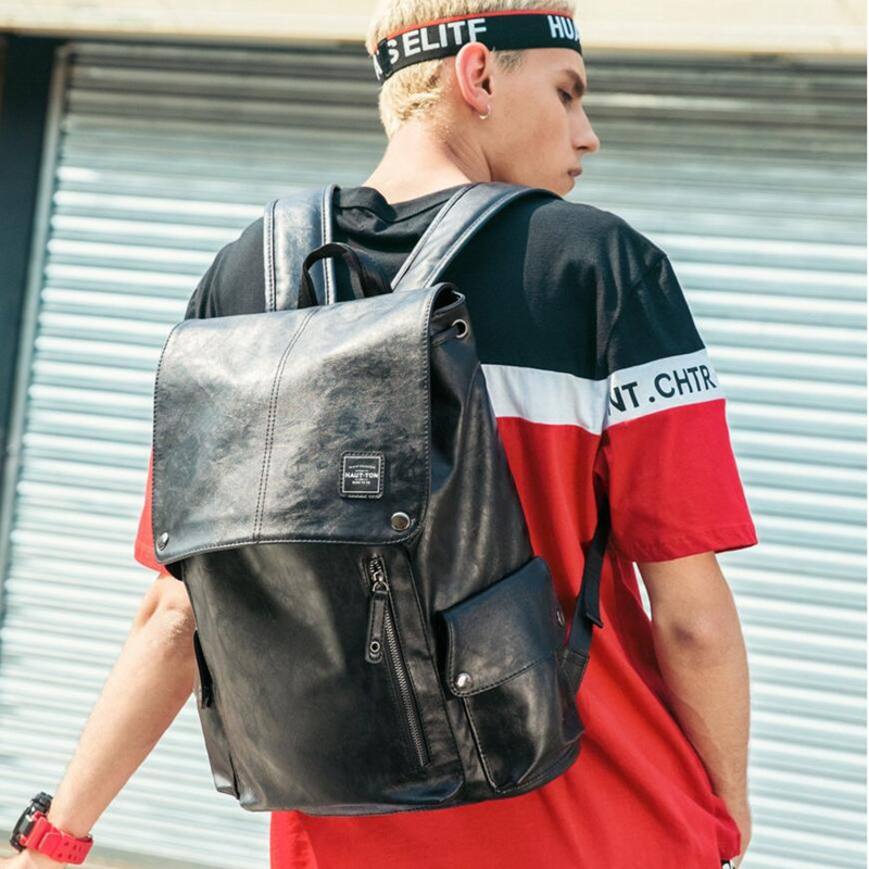 "Brand New Men Backpack Fashion Shoulder Bag Black PU Leather Bag College School Travel Casual Daypacks For 15"" laptop Hot Sale 2"