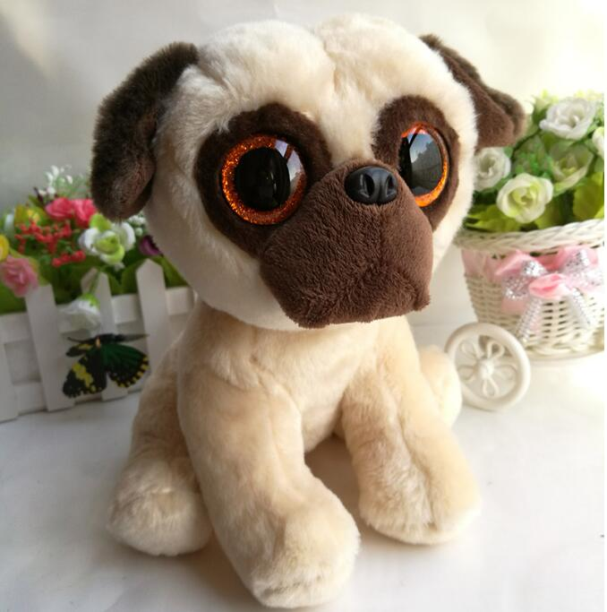 Kawaii Ty Plush Animals Kids Toys Big Eyes Pug Dog Dolls Rufus Gifts